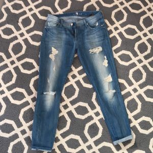7 skinny jeans. Distressed